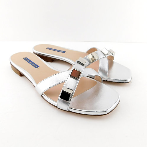 STUART WEITZMAN Size 9 CROSS Silver Studded Slide Sandals Shoes