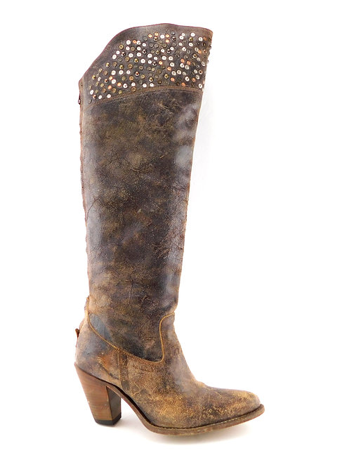 FRYE Distressed Leather Studded Knee High Boots 6