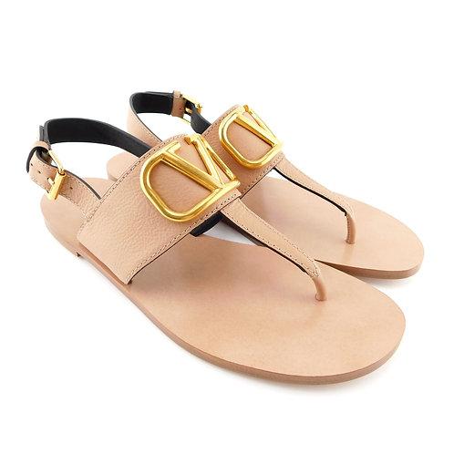 VALENTINO Size 9 Beige Thong Logo Sandals Shoes 40 Eur