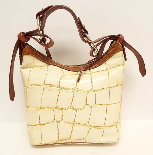 DOONEY & BOURKE Ivory Leather Alligator Print Hobo