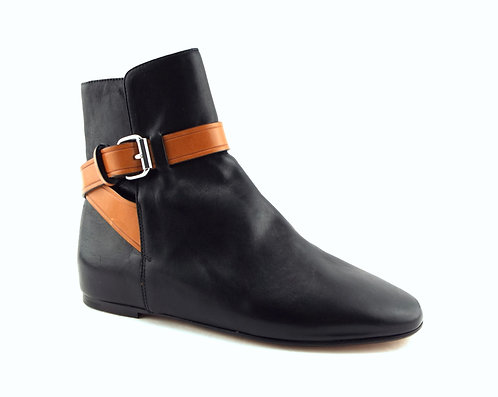 ISABEL MARANT Black Leather Slip-on Booties 37