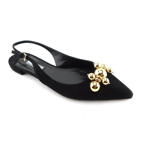PRADA Size 7.5 Black Suede Slingback Skimmer Flats Shoes 37.5 Eur