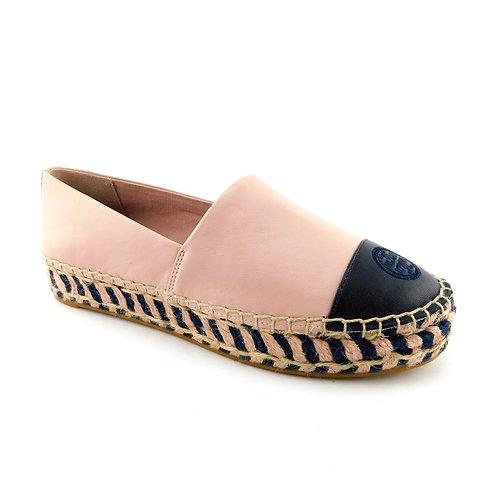 TORY BURCH Size 7.5 Color Block Pink Platform Espadrilles Flats Shoes 7 1/2