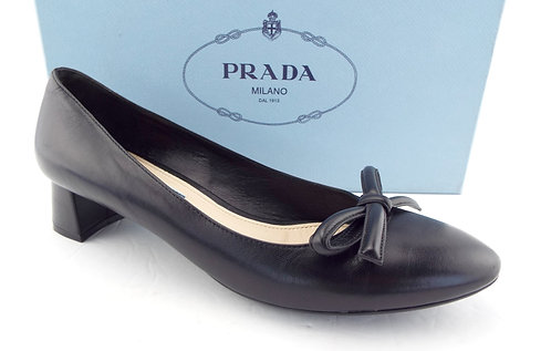 PRADA Black Bow Round Toe Block Heel Pumps 38