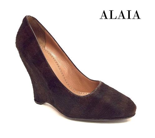 ALAIA Black Brown Tiger Stripe Pony Hair Wedge Heel 38.5 / 8