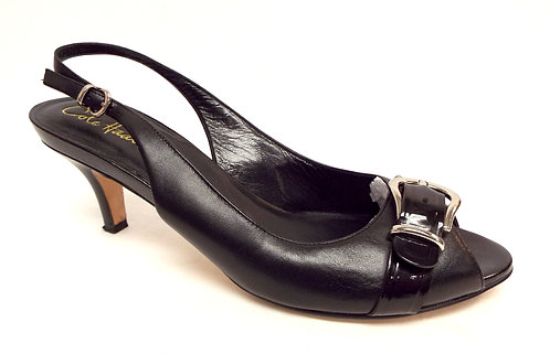 COLE HAAN Black Leather Slingback