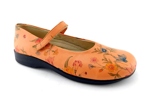 A'RCOPEDICO Peach Floral Mary Jane Flats