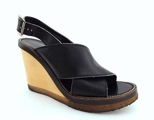 CHLOE Black Leather Strap Wedge Sandals 38
