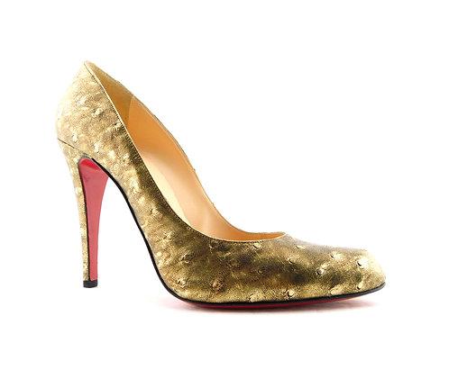 CHRISTIAN LOUBOUTIN Bronze Ostrich Heel Pumps 38.5