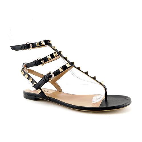 VALENTINO Size 6 Black ROCKSTUD Ankle Strap Sandals Shoes 36 Eur