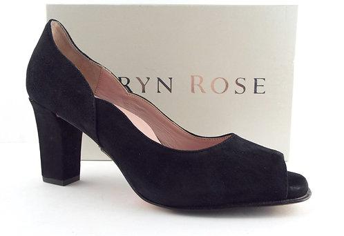 TARYN ROSE Black Suede Open Toe Heel Pumps 8