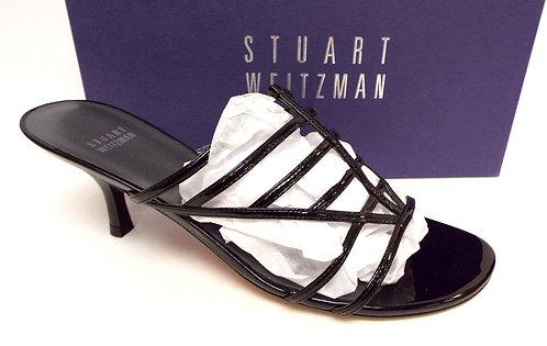 STUART WEITZMAN Black Patent Strappy Slide Heel