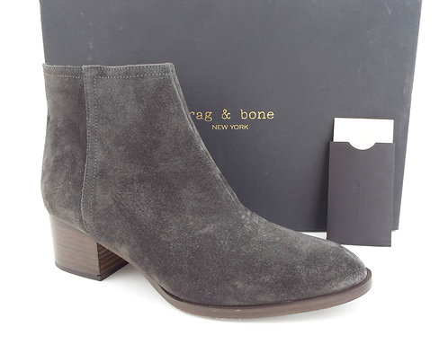 RAG & BONE WESLEY Gray Waxed Suede Ankle Boots 38