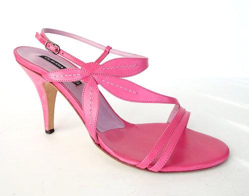 CLAUDIA CIUTI Pink Leather Flower Sandal 8.5