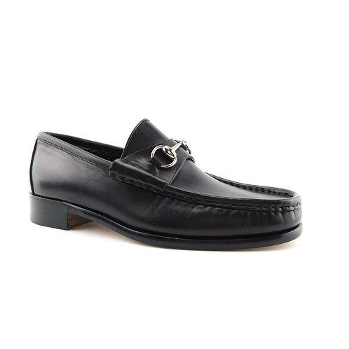 GUCCI Size 8 US Classic Black Leather Silver Tone Horsebit Loafers Shoes
