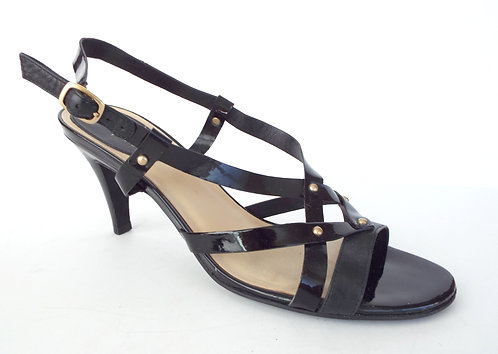 COLE HAAN Black Patent Strappy Slingback Sandal 9