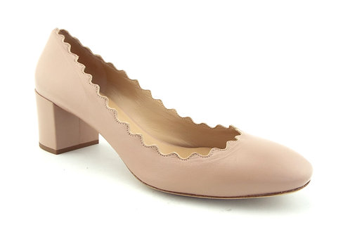 CHLOE Nude Scalloped Block Heel Pumps 38