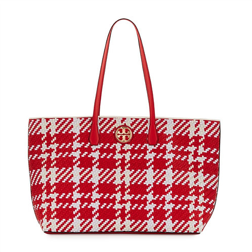 TORY BURCH Red/White/Ivory Woven Leather Tote