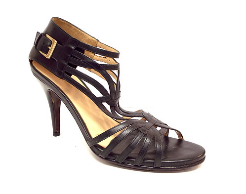 COLE HAAN NIKE AIR Black Strappy Leather Sandal 9