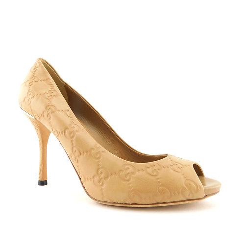 GUCCI Size 7.5 Beige Guccissima GG Open Toe Heels Pumps Shoes 37.5 Eur