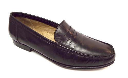 SANTONI Size 9 Black Leather Penny Loafers Shoes