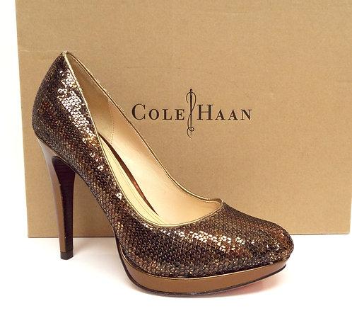 COLE HAAN Nike Air Gold Sequin Platform Pump 7