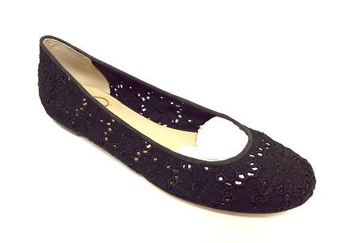 DELMAN Lace Crochet Black Ballet Flat 5.5