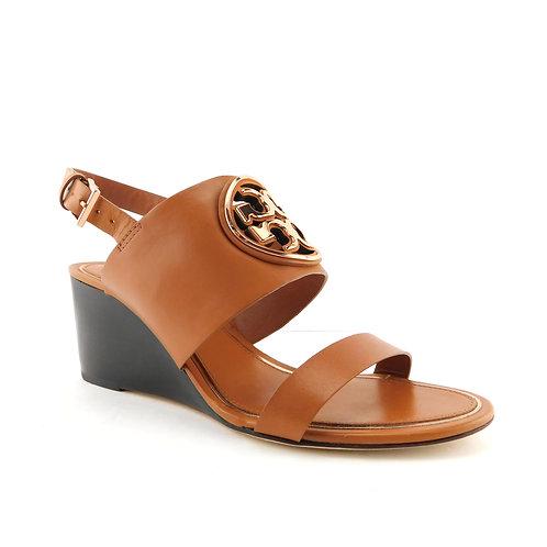 TORY BURCH Size 7.5 Metal MILLER Wedge Veg Tan Logo Sandals Shoes