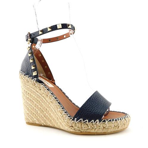 VALENTINO Size 6 ROCKSTUD Navy Blue Pebble Espadrille Wedge Heels Shoes 36