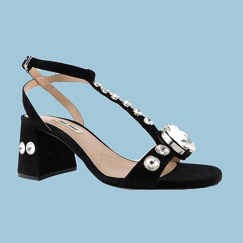 MIU MIU Size 6 Black Crystal T-Strap Block Heel Pumps Shoes 36 Eur Prada
