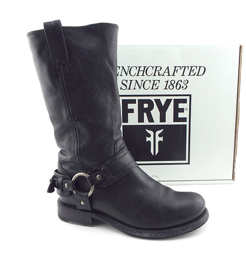 FRYE JENNA Black Leather Belted Harness Boots 6.5