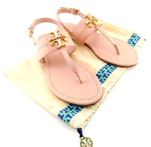 TORY BURCH Everly Logo Light Pink Sling Sandals 7