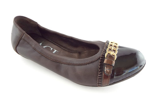 AGL Brown Leather Cap Toe Ballet Flats 37.5 / 7.5