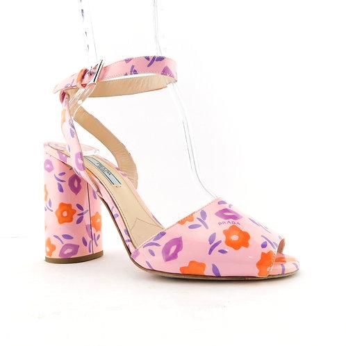 PRADA Size 8.5 Pink Floral Ankle Strap Heels Pumps Shoes 39 Eur