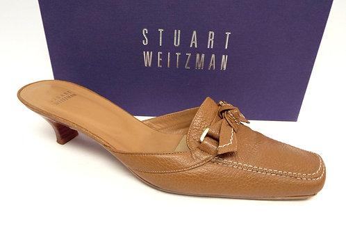STUART WEITZMAN KNOTSO Tan Pebble Leather Mule 10