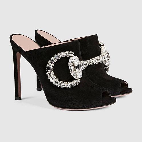 GUCCI Crystal Horsebit Logo Black Suede Mules 38