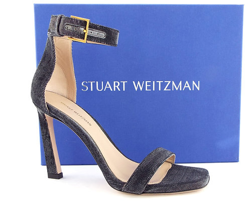 STUART WEITZMAN Shimmer Black Strap Pump 6.5