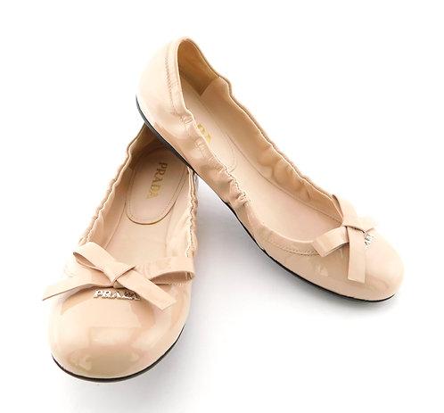 PRADA Logo Bow Nude Patent Leather Ballet Flats 36