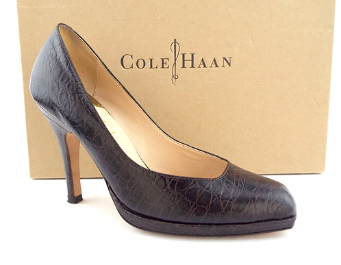Cole Haan Nike Air Brown Alligator Print Leather Platform Pumps