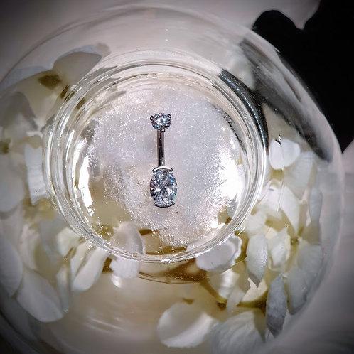 """Piercing de nombril cristaux """"Blanc"""" Swarovski"""