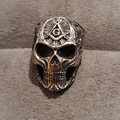 Bague homme crâne - symbole maçonnique