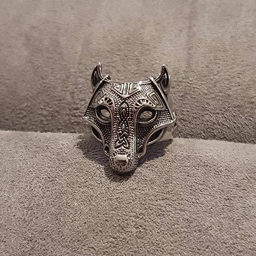 Bague homme tête de loup - gravures viking