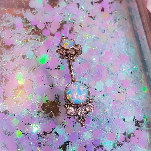 Piercing de nombril OPALE bleue irisée