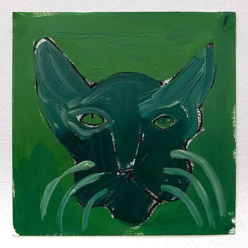 Green on Green Cat by Sophie Vallance Cantor