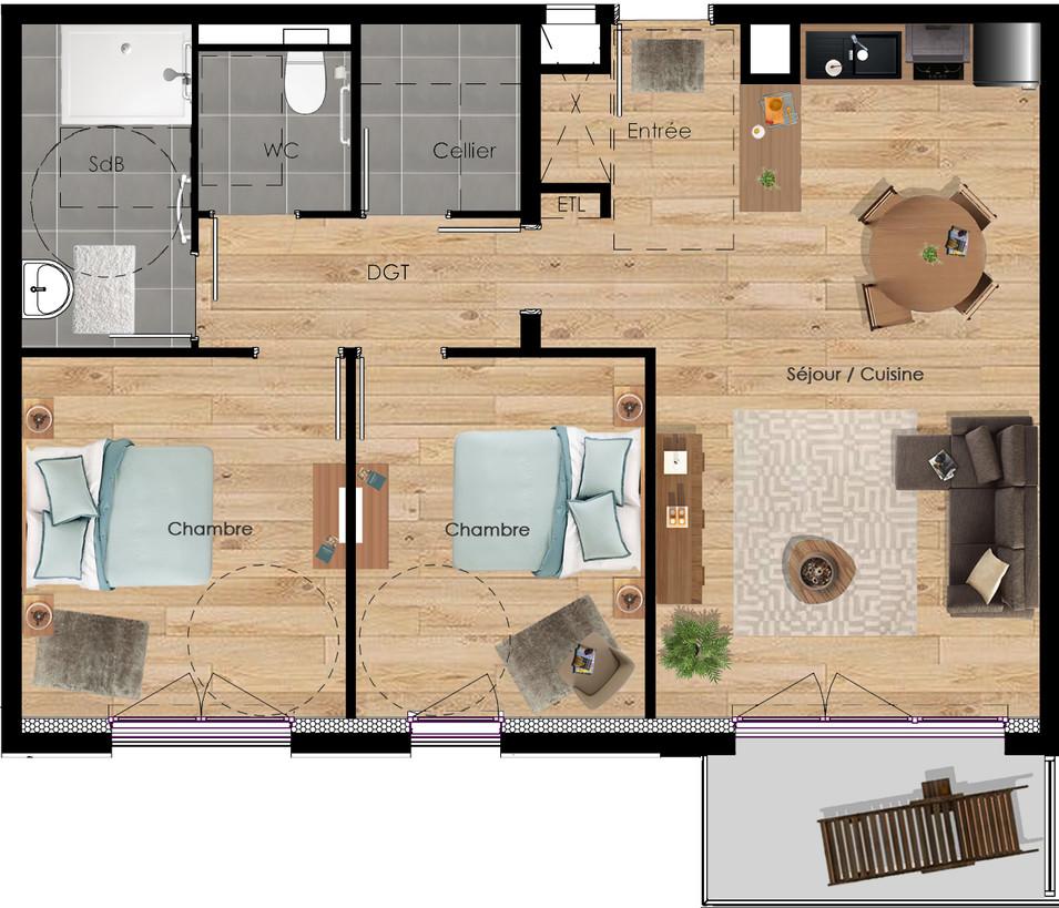 Poix de picardie | Quartier résidentiel - Le Clos des RosesAppartement à vendre type T3 - Résidence Le Clos des Roses