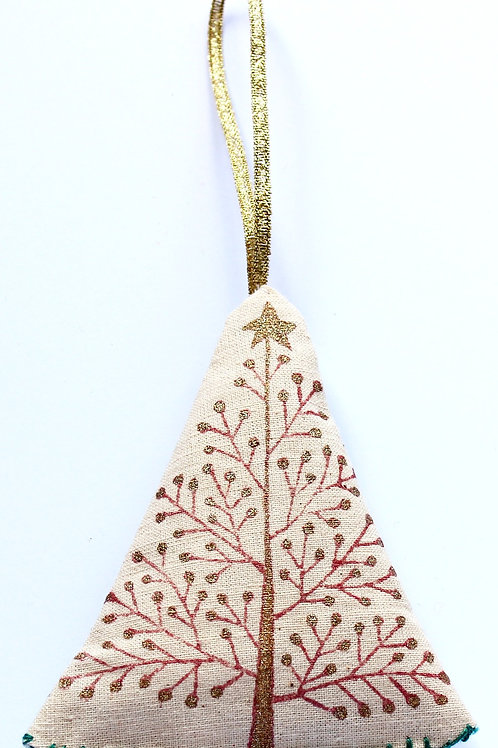 Block printed Christmas Decoration