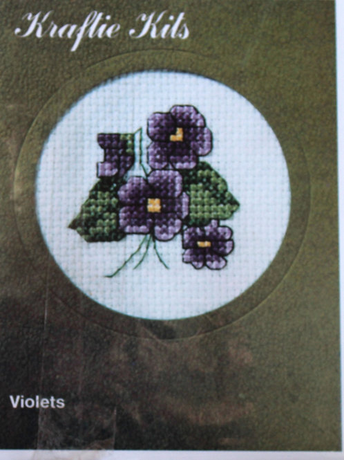 Cross Stitch Kit Violets