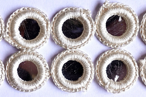 Silver pearl Shashi mirror embellishments x 10