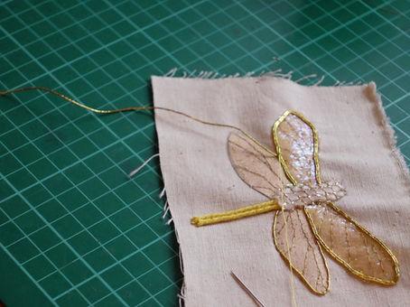 Couching Gold metallic threads