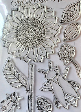 Sunflower and Bees Stamp